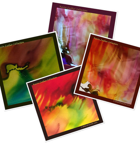 Coasters with original art work by young man with special needs - top sealed  and has a felt bottom