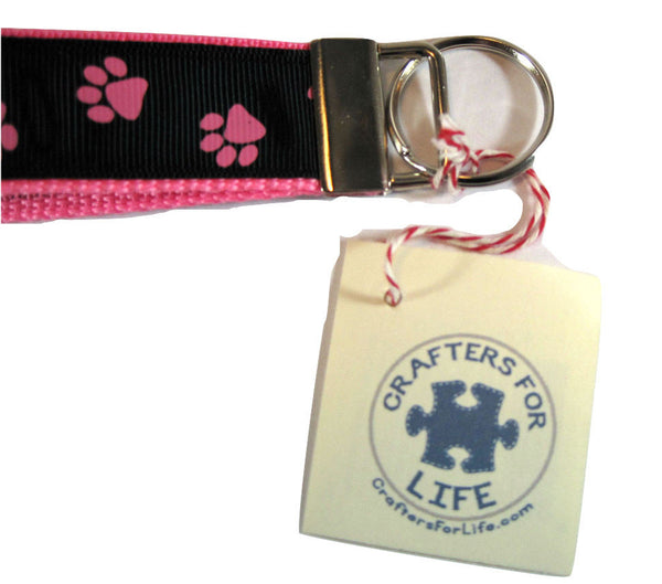 Pink Paw Print Key Chain with Pink Backing