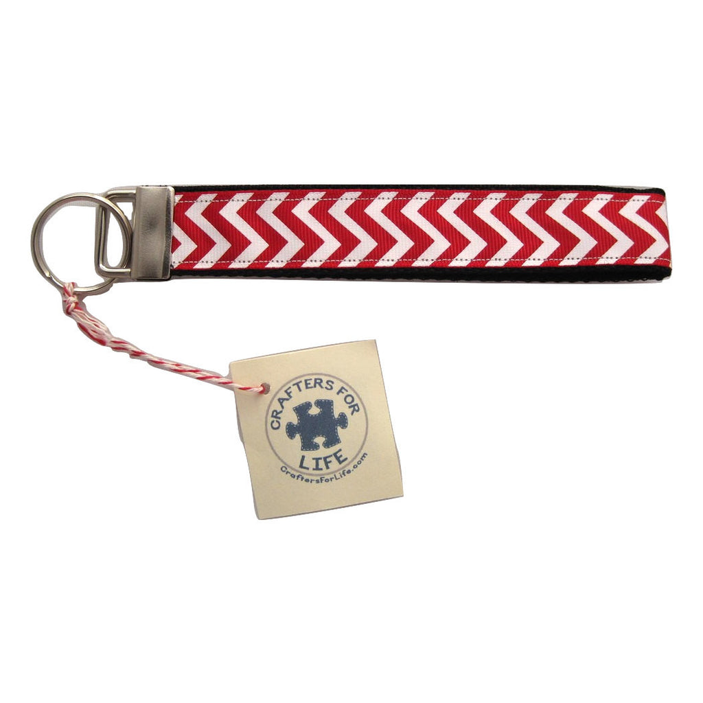 Red Chevron Key Chain with Black Backing