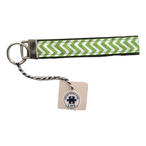 Green Chevron Key Chain with Olive Green Backing