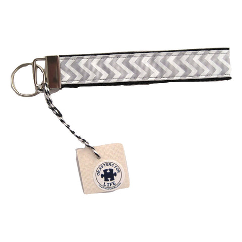 Gray Chevron Key Chain with Black Backing