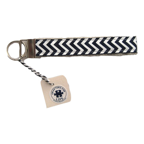 Navy Blue Chevron Key Chain with Silver Backing