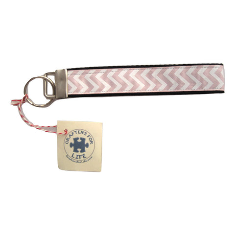 Light Pink Chevron Key Chain with Black Backing