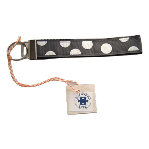 Gray with White Dots Key Chain with Black Backing