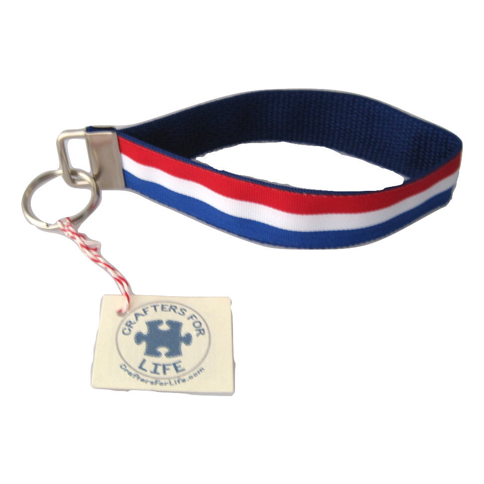 Red, White & Blue Stripes Key Chain with Blue Backing