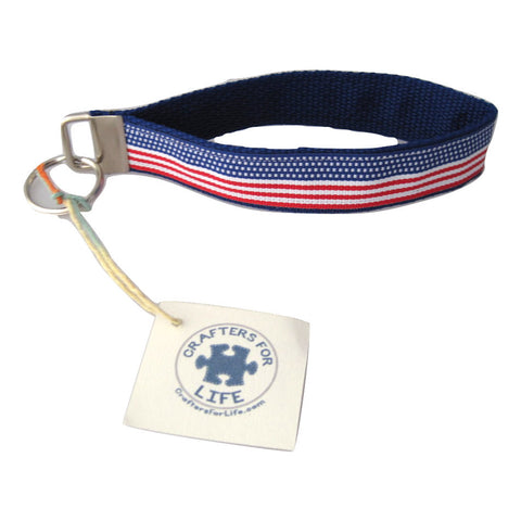 American Flag Key Chain with Blue Backing