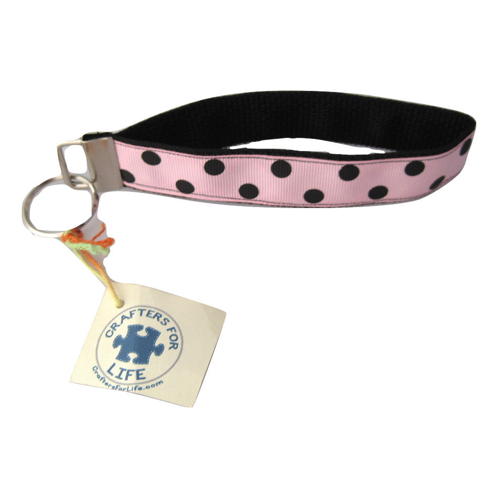 Pink with Black Dots Key Chain with Black Backing