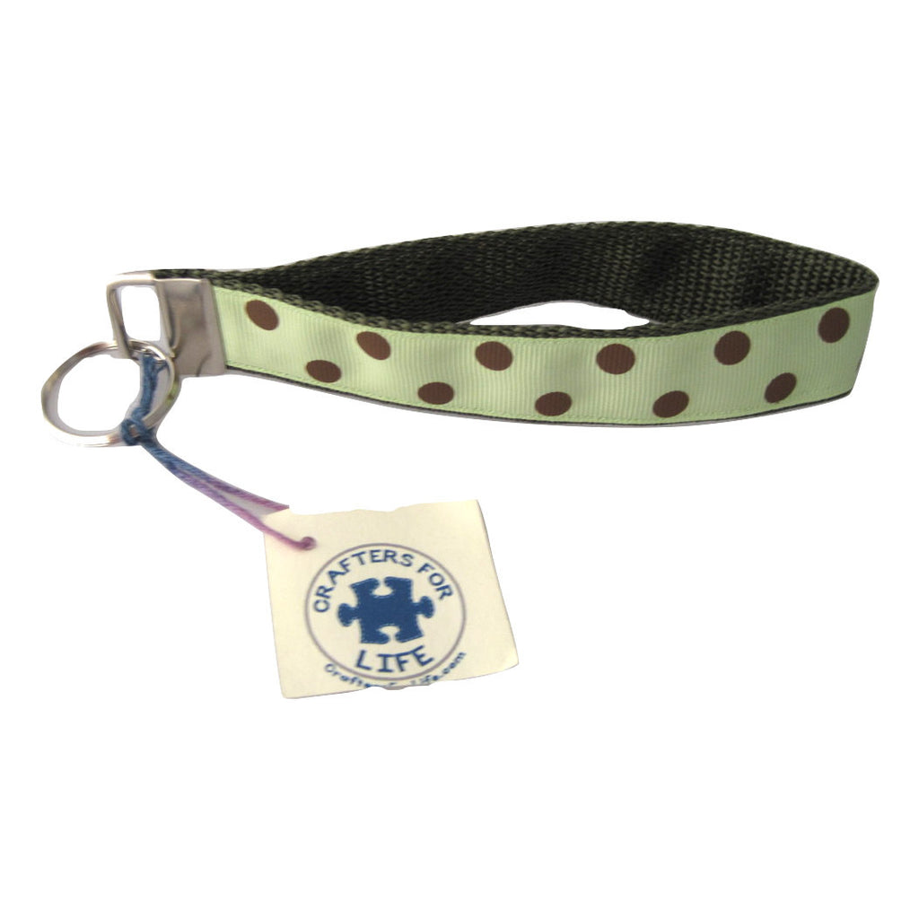 Light Green with Brown Dots Key Chain with Olive Green Backing