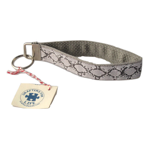 Snake Skin Print Key Chain with Silver Backing