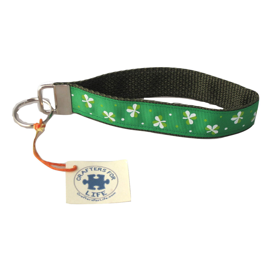 Green Shamrock Key Chain with Green Backing
