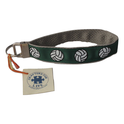 Green Volleyball Key Chain / Keyfob with Silver Backing and a sturdy 12 inch wrist loop
