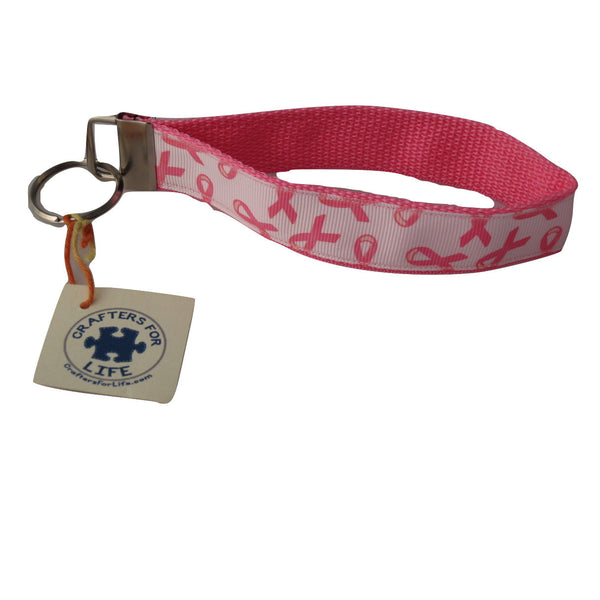 Pink Breast Cancer Key Chain / Keyfob with Pink Backing and a sturdy 12 inch wrist loop