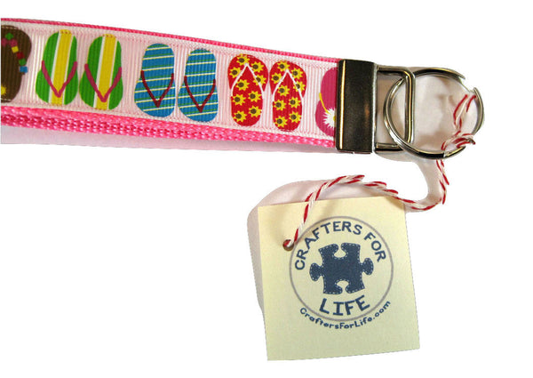 Flip Flop Key Chain with Pink Backing