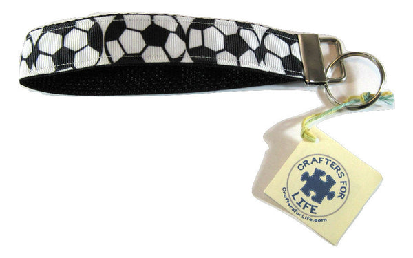 Soccer Key Chain with Black Backing