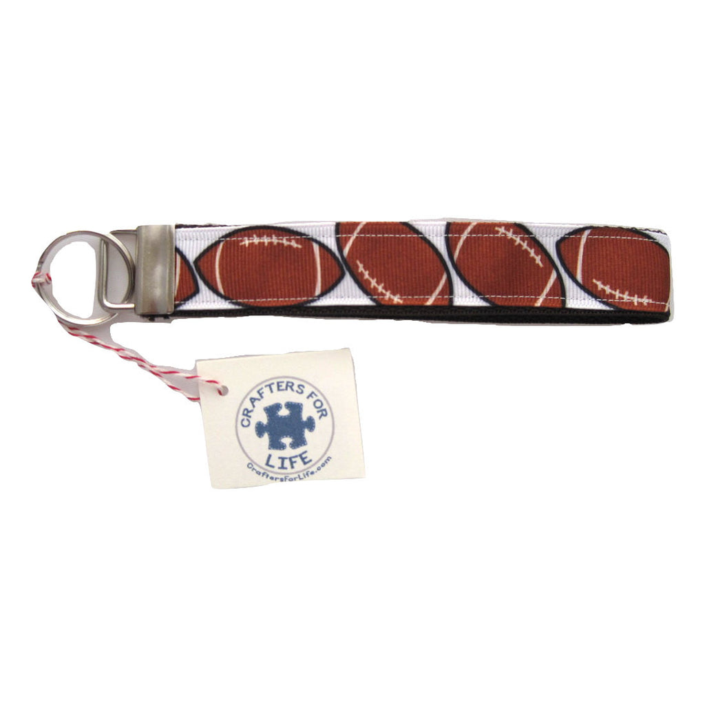 Football Key Chain with Brown Backing