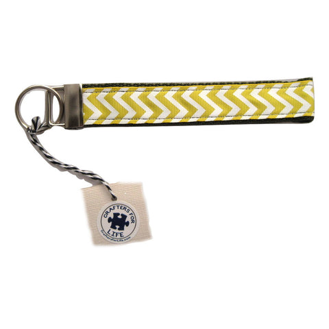 Yellow Chevron Key Chain with Olive Green Backing
