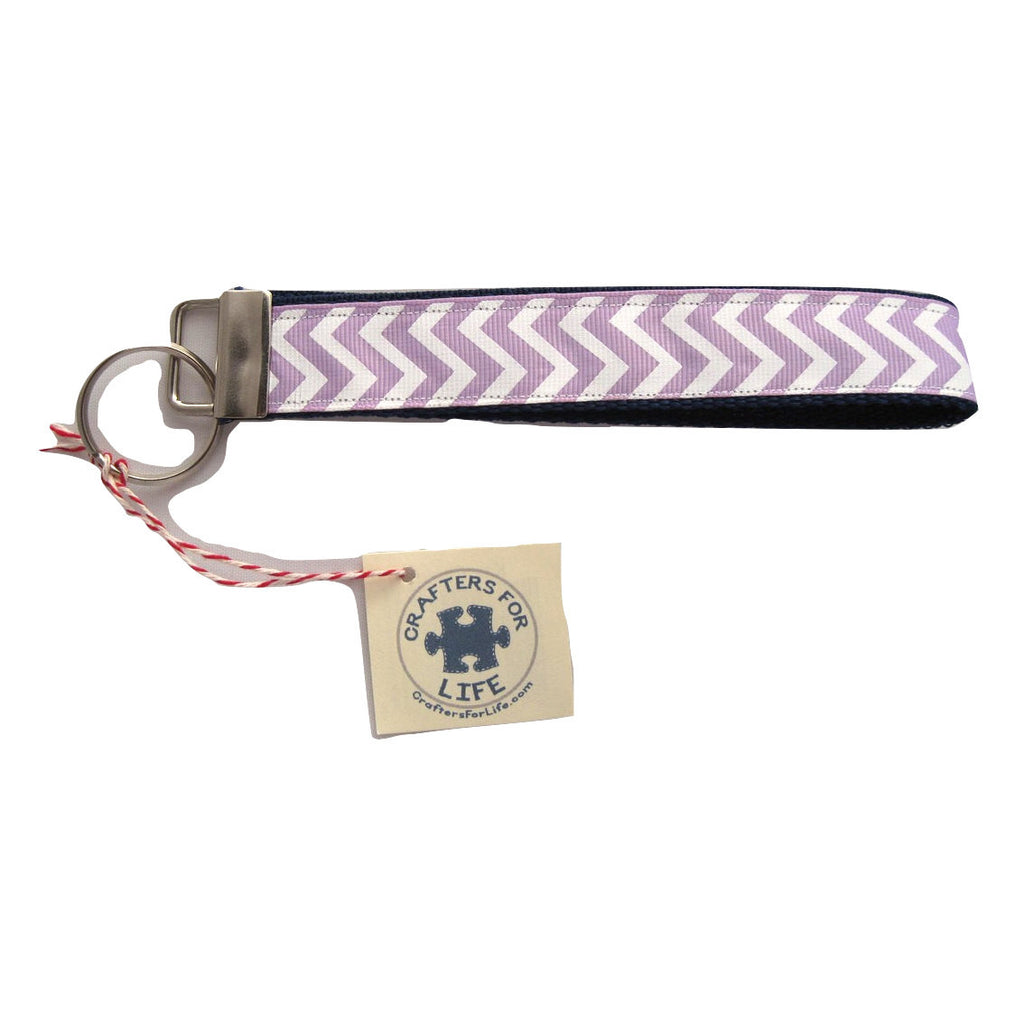 Lavender Chevron Key Chain with Blue Backing