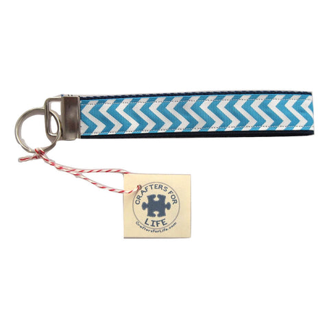 Light Blue Chevron Key Chain with Blue Backing