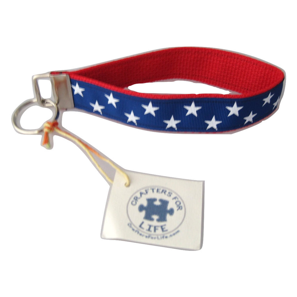 Blue with White Stars Key Chain with Red Backing