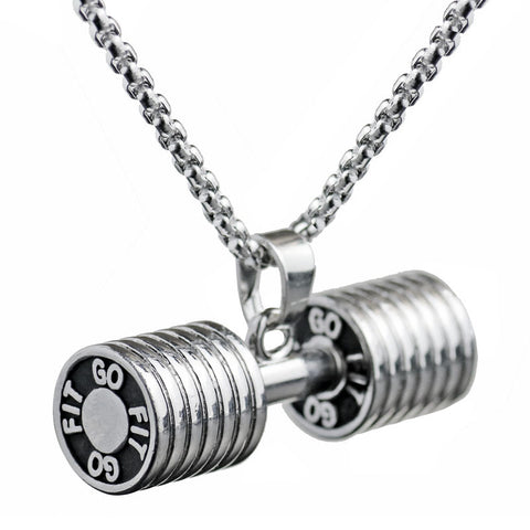 Dumbbell Punk Charm Small Necklace Male Female Sports Lover Fashion Accessories