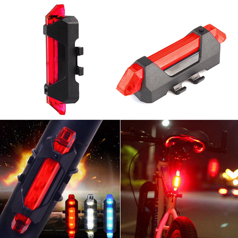 Bike Cycling Camping Warning Light 5 LED USB Rechargeable