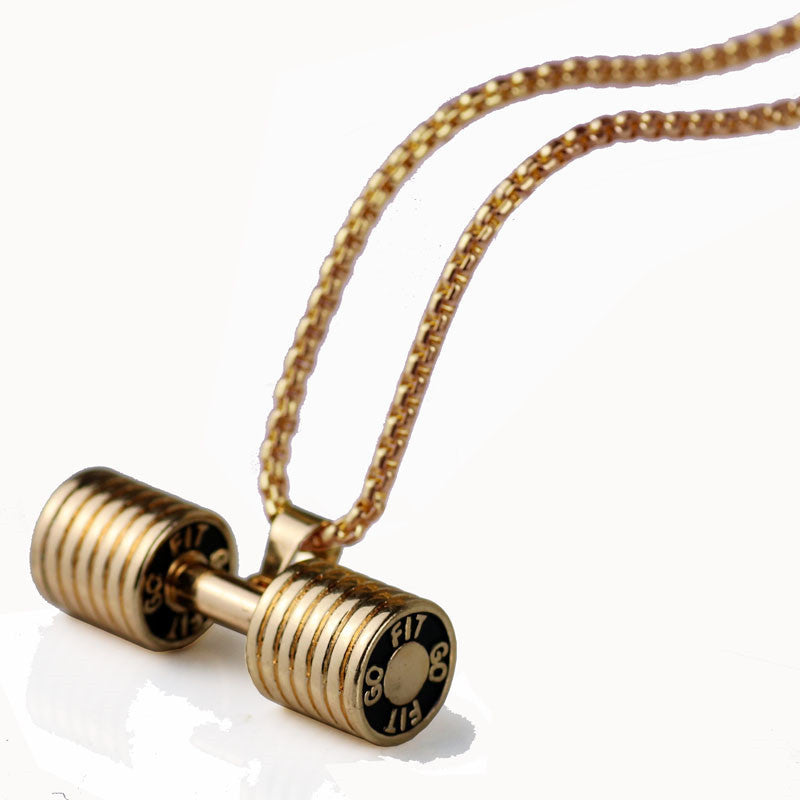 Dumbbell Punk Charm Big Necklace Male Female Sports Lover Fashion Accessories