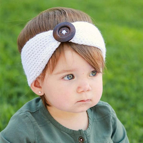 Bookoo Babies Wooden Button Knitted Baby Headband