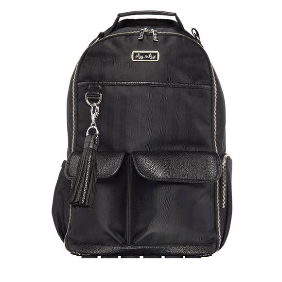 Black Herringbone Boss Diaper Bag Backpack