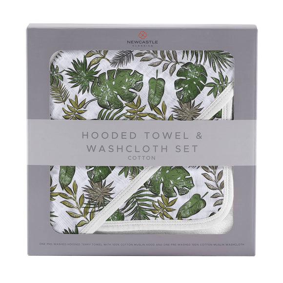 Bookoo Babies Jurassic Forest Hooded Towel + Washcloth Set