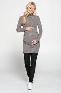 Bookoo Momma Between Us Long-Sleeve Ruched Top - Grey