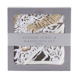 Bookoo Babies Animal Print Hooded Towel + Washcloth Set