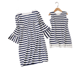 Bookoo Babies Mommy & Me High On Summertime Nautical Striped Mini Dress