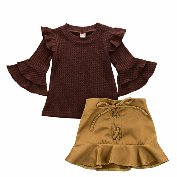 Bookoo Babies Caramel Posh Ruffle Flare Outfit