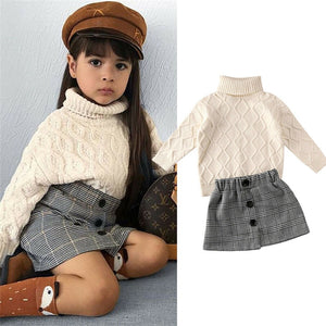 Bookoo Babies Carry On Turtleneck Knit Sweater + Plaid Skirt Outfit