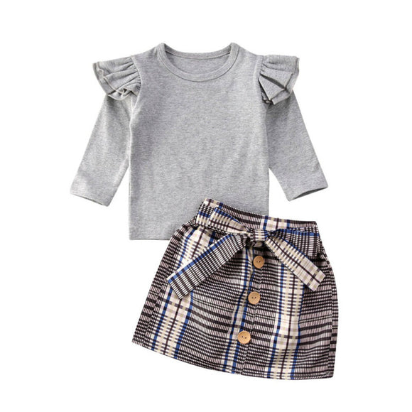 Bookoo Babies Fancy Plaid Bowknot Skirts Outfit