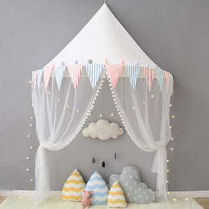 Bookoo Babies Wall Hanging Half Canopy Curtain - Dots & Stripes