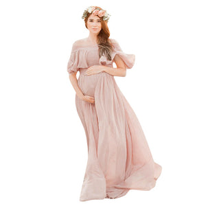 Bookoo Momma Blushing Off The Shoulder Maxi Dress
