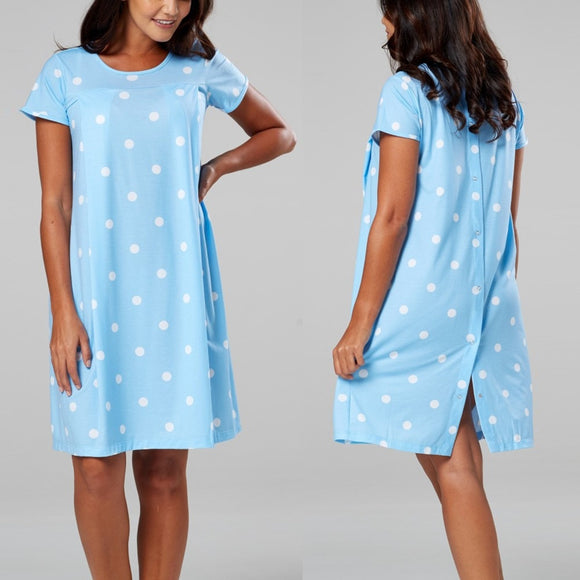 Bookoo Babies Powder Blue Polka Dot Nursing Gown