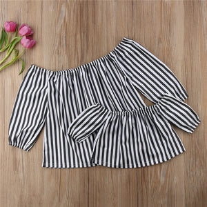 Bookoo Babies Mommy & Me Black and White Striped Off-Shoulder Blouse