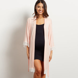 Bookoo Momma Lana Lace Cotton Blend Maternity Robe