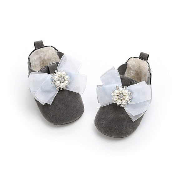 Bookoo Babies She's Royalty Pearl Bling Bow Shoes