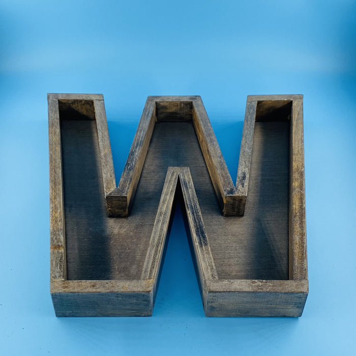 Handmade Wood letter planter, W