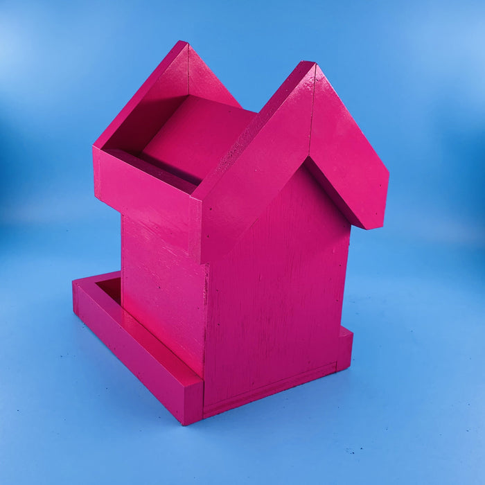 Wood Birdhouse, Berry Pink