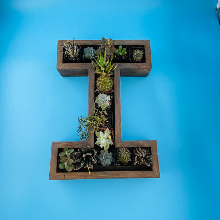 Handmade Wood letter planter, I