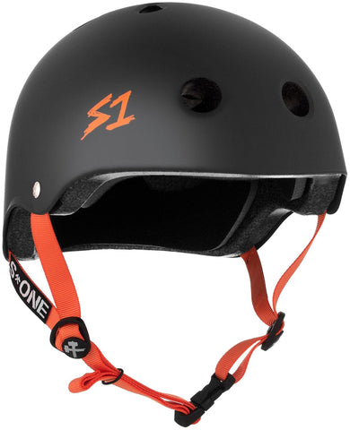 S1 Lifer Helmet - Black Matte w/ Orange Straps Safety Gear S1 XS
