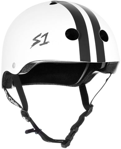 S1 Lifer Helmet - White Gloss W/ Black Stripes Safety Gear S1 XS