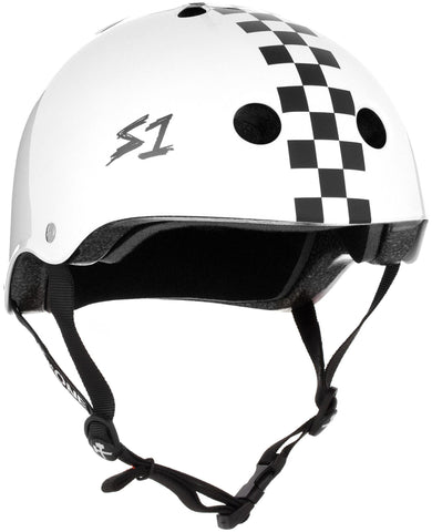 S1 Lifer Helmet - White Gloss With Checkers Safety Gear S1 XS