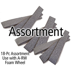 "Aluminum oxide belt 4"" dia x 1"" w, Assortment,3 of each grit"