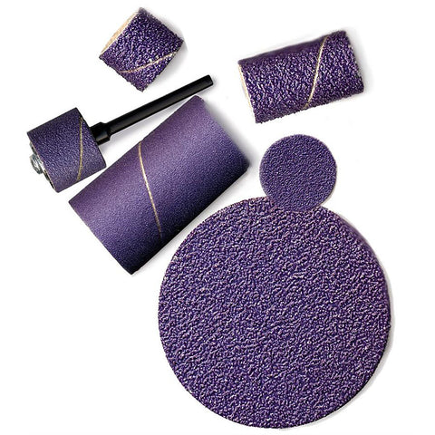 "Purple Ceramic Sanding Bands, 1/4"" dia. x 1/2"" long, 60 Grit, Pack of 10"