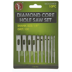 Saw Set - Diamond Core/Hole, Grit 100, 10 Pc